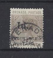"""GRENADA..QUEEN VICTORIA...(1837-01).. """" .SURCHARGE POSTAGE.""""..1d....SGD5...CDS..VFU.. - Grenada (...-1974)"""