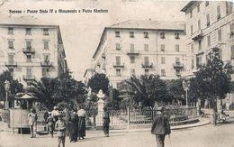 Cpa SAVONA Piazza Sisto IV E Monumento A Pietro Sbarbaro - Cachet COMANDO MILITARE DI STAZIONE - Savona