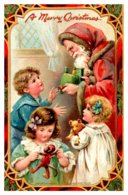 Christmas , Red Robe Santa , Children , Recieving Toys , Tuck's No.512 - Santa Claus