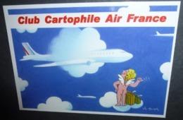 Carte Postale : Club Cartophile Air France (avion - Aviation - Angelot) Illustration Léo Kouper (Les Ailes De Cupidon) - Kouper