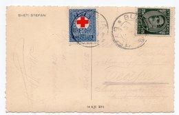 1934 YUGOSLAVIA, MONTENEGRO, SVETI STEFAN TO BELGRADE, ISLAND, RED CROSS ADDITIONAL STAMP,ILLUSTRATED POSTCARD, USED - Yugoslavia