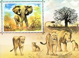 Umm Al-Qiwain Mi. Bl. 34 ** Löwen/Elefant - Raubkatzen