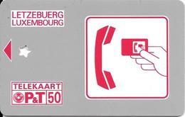 CARTE-PUCE-LUXEMBOURG-50U-Série SC01-Sans PUCE-LOGO ROUGE-GENERIQUE R° Glacé-Perforé Etoile Calage??-TBE - Luxemburg