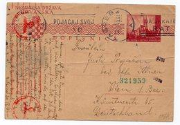 1943 WW2,  NDH, CROATIA, ZAGREB TO VIENNA, AUSTRIA, CENSORED, GERMAN CENSORSHIP, FLAM, POSTAL STATIONERY - Croatia