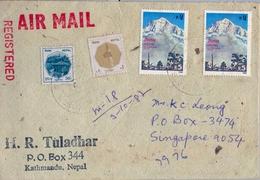 1980 , NEPAL , SOBRE CERTIFICADO , CORREO AÉREO , KATHMANDÚ - SINGAPORE - Nepal