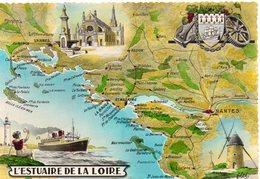 Estuaire De La Loire Carte Géographique Map Contour De Département Nantes St-Nazaire - Frankrijk