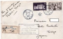 1952 - 1ère Liaison Aérienne Paris Tokyo - Cachet Paris 113 Hotel De Ville Sur YT 924 & YT PA 24 & Divers Cachets Au Dos - Postmark Collection (Covers)