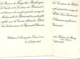 Mariage 1904 Albert De Pelet & De Brimont Château D'Aunay Essai Orne De Fingerlin-Bischingen Château Fontaine-le-Bourg - Annunci Di Nozze
