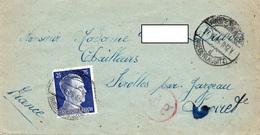 LSC - Cachet NIEDERLAUSITZ Sur Timbre Hitler  &Griffe Censure Ae - Germany