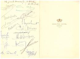 """CARLTON HOTEL CANNES  1954 -AU DOS LES SIGNATURES DES """"GRANDS HOMMES DE L'HOTELLERIE LE 23.9.54"""" - Menus"""