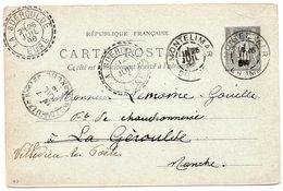 """1898 - Cachet Perlé LA GUEROULDE (Eure) """"indice 15"""" Sur Cp Entier Postal 10c Noir Sur Vert - Postmark Collection (Covers)"""