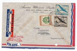 1958 URUGUAY, MONTEVIDEO TO BELGRADE, SERBIA, YUGOSLAVIA, AIR MAIL - Uruguay