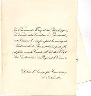 Mariage 1904 De Brimont & Comte Albert De Pelet Château D'Aumay Essai De Fingerlin Bisschingen Faontaine-le-Bourg - Mariage