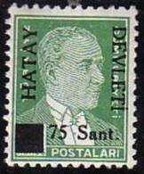 1939 TURKEY BLACK HATAY DEVLETI OVERPRINTED POSTAGE STAMP WITH THE PORTRAIT OF ATATURK (1st. Issue) MICHEL: 4 MNH ** - 1934-39 Sandjak Alexandrette & Hatay