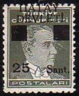 1939 TURKEY BLACK HATAY DEVLETI OVERPRINTED POSTAGE STAMPS WITH THE PORTRAIT OF ATATURK (1st. Issue) MICHEL: 2 MNH ** - 1934-39 Sandjak Alexandrette & Hatay
