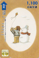 Carte Japon  - BD Comics - OURS PADDINGTON CERF VOLANT Bonhomme De Neige - TEDDY BEAR & KITE Japan Card - BÄR - Hiro 782 - BD