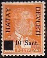1939 TURKEY BLACK HATAY DEVLETI OVERPRINTED POSTAGE STAMPS WITH THE PORTRAIT OF ATATURK (1st. Issue) MICHEL: 1 MNH ** - 1934-39 Sandjak Alexandrette & Hatay