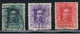 (E 906) ESPAÑA // YVERT 277, 278, 279 //   EDIFIL 315a, 316, 317 // 1922-30 - 1889-1931 Royaume: Alphonse XIII