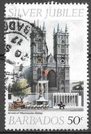 1977 Queen Elizabeth II, Silver Jubilee, 50 Cents, Used - Barbados (1966-...)