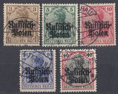 OCCUPAZIONE TEDESCA POLONIA - POLSKA - 1915 - Serie Completa Di 5 Valori Usati: Yvert 1/5. - Occupazione 1914 – 18