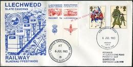Slate Mining GB UK 1983 Llechwedd Slate Caverns Underground Railway FDC Cover 5p Letter Stamp TRAIN U-Bahn Great Britain - Mineralien