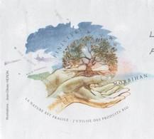 LA NATURE EST FRAGILE, UTILISE DES PRODUITS BIO FINISTERE MORBIHAN - ARBRE ET MAINS, PAP ENTIER POSTAL CACHETS ROUGES - Umweltschutz Und Klima