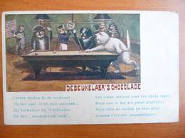 """CPA - Debeukelaer's Chocolade - Chats Jouant Au Billard - """"les Vieux Matous Sont Des Chats Sages. Art Des Carambolages"""" - Publicité"""