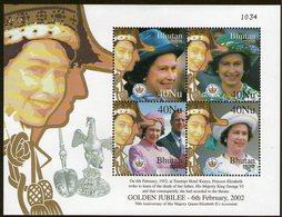 BHUTAN, 2002 QUEENS GOLD JUBILEE MINISHEET MNH - Bhutan