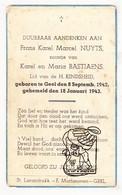 DP Frans K. Nuyts / Bastiaens ° Geel 1942 † 1943 - Images Religieuses