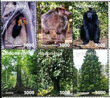 XC0507 Indonesia 2018 National Park Plants And Animals Birds Orangutans, Etc. 6V MNH - Indonesia
