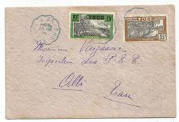 TOGO 15C+35C LETTRE CONVOYEUR LIGNE BLEU LOME ANECHO 25.12.1926 - Railway Post