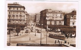 Napoli Piazza Municipio E Via De Pretis Tram In Primo Piano Fotografica Anni 30 Animatissima - Napoli (Naples)