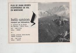 Publicité Héli Union Transport Par Hélicoptères Paris Fontaine - Publicités