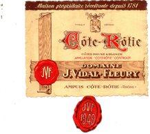 Etiquette Vin Côte-Rotie 1949. Domaine Vidal-Fleury à Ampuis. - Côtes Du Rhône