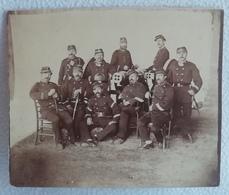 Ancienne Photo Originale Militaire Groupe De Soldats Devant Un Canon GARDE NATIONALE 1870-1871 Du XIXème - Photographs