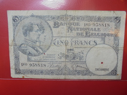 BELGIQUE 5 FRANCS 1938 CIRCULER+PERFORATION D'ANNULATION (B.4) - [ 2] 1831-... : Reino De Bélgica