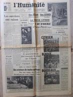 Journal L'Humanité (6 Juil 1955) Congrès Mondial Des Mères - A Bondy - Citroën - J Gréco - 1950 à Nos Jours