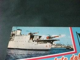 NAVE SHIP  GUERRA VESUVIO CON ELICOTTERI UN SALUTO DAL MARINAIO 1 BOLLO RIMOSSO PIEGA ANG. - Elicotteri