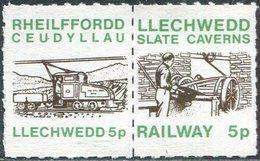 Slate Mining GB UK 1985 Llechwedd Slate Caverns Underground Railway 5p Letter Stamps Pair TRAIN U-Bahn Great Britain - Mineralien