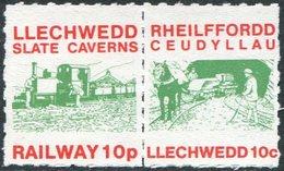 Slate Mining GB UK 1986 Llechwedd Slate Caverns Underground Railway 5p Stamps Pair HORSE TRAIN Pferdebahn Cheval - Mineralien