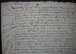 1691 Bail  De 15 Années Pour La  Ferme De Mermont (Crépy Oise), Fait Par La Famille De Billy Et Consorts à Clérin - Manuscripts