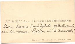 Visitekaartje - Carte Visite - Mr & Mme Aug. Goethals - Defrenne - Verviers - Cartes De Visite