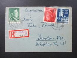 DR 1943 Generalgouvernement Einschreiben Gestempelter R-Zettel Lemberg 1 365 Und Handschriftlich G Aus Ukraine!! - Besetzungen 1938-45