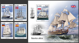 ANGOLA 2019 - Tall Ships, 4v + S/S. Official Issue - Angola
