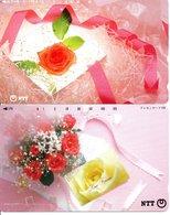 2 Télécartes Japon Japan  Fleur Flower Rose Phonecard (D 659) - Fleurs