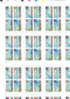 2000 Ungetrennter Markenheftchenbogen Von 16 4er Blocks, Mit Passerzeichen Aus Courvoisier Archiv; - Booklets
