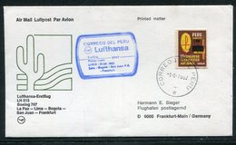 Peru / 1982 / Lufthansa-Erstflugbrief La Paz-Lima-Bogota-San Juan-Frankfurt (18388) - Peru