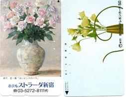 2 Télécartes Japon Japan  Fleur Flower  Phonecard (D 661) - Fleurs