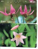 2 Télécartes Japon Japan  Fleur Flower  Phonecard (D 662) - Fleurs
