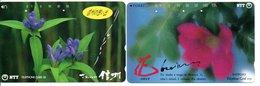 2 Télécartes Japon Japan  Fleur Flower  Phonecard (D 664) - Fleurs